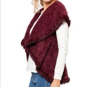 Love Token Danielle Vest with Rabbit Fur Trim